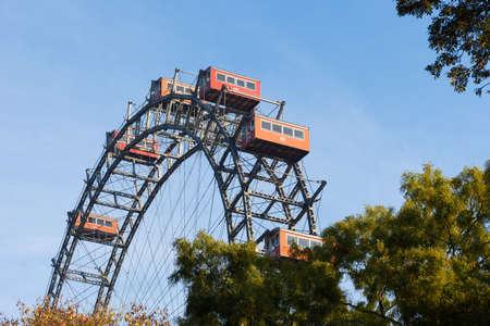 prater: Ferris wheel, Prater, Vienna, Austria on a clear day Editorial