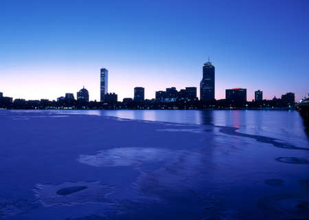 back bay: Bostons Back Bay and Charles River seen at dawn Stock Photo