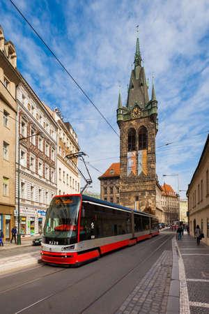 public transportation: Jindrisska Tower in Prague with public transportation