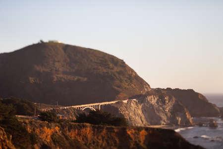 bixby: Bixby Creek Bridge, Big Sur, Monterey County, California, tilt shift effect Stock Photo