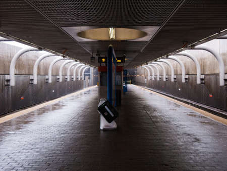 subway station: MBTA subway station platform platform in Boston, Massachusetts Editorial