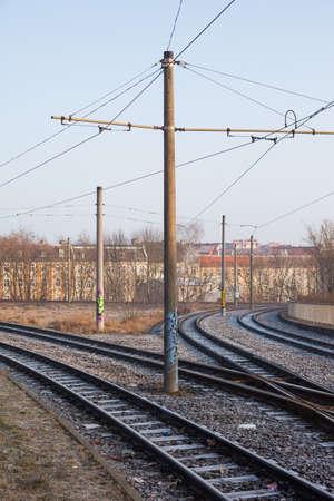 streetcar: Streetcar rails in Frankfurt (Oder), Germany