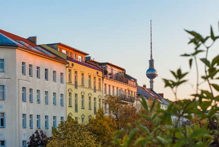 Apartments in Berlins Prenzlauer Berg neighborhood with Fernsehturm