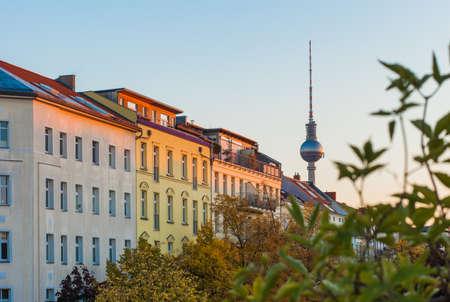 Apartments in Berlin's Prenzlauer Berg neighborhood with Fernsehturm