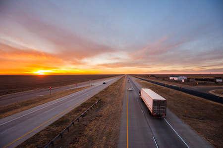 transport truck: Trucks on the open road, southwest US