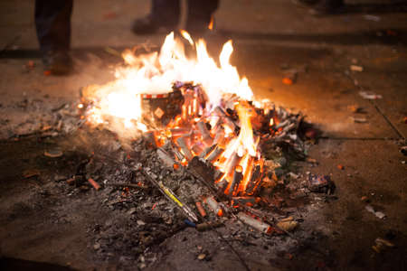 hobo: Fire built out of spent fireworks by homeless to keep warm, Berlin New Years Eve 2013 Stock Photo