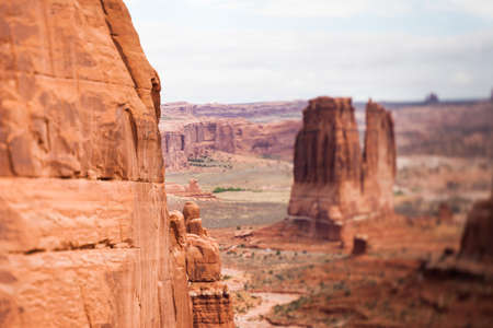 tilt: Red sandstone butte, Arches National Park, tilt shift effect