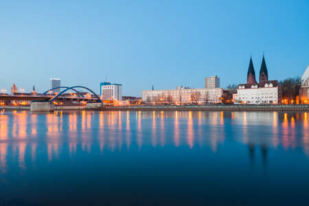 Frankfurt (Oder) waterfront with Oderbruecke and C. P. E. Bach concert hall Stock Photo