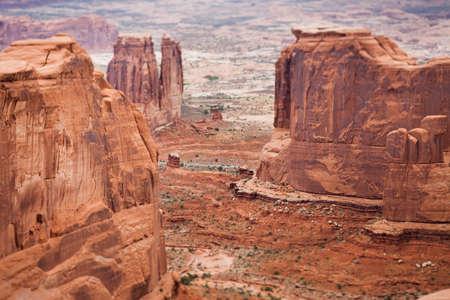 tilt and shift: Red sandstone butte, Arches National Park, tilt shift effect