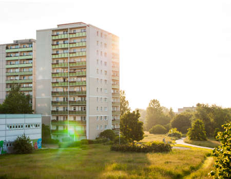 east germany: Plattenbau style apartment buildings in Frankfurt (Oder), former East Germany