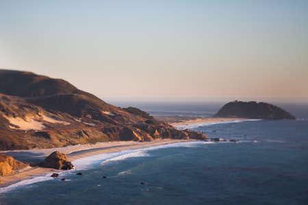 tilt and shift: View over the beach at Point Sur, California, tilt shift effect