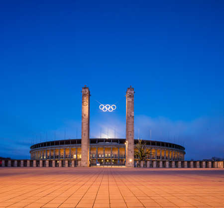 olympic stadium: Berlins Olympic Stadium (Olympiastadion) at twilight
