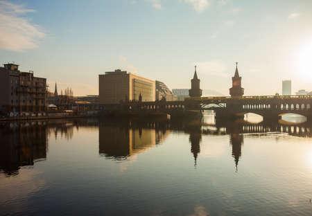 spree: Oberbaum Bridge (Oberbaumbruecke) and Universal Music Building with River Spree, Berlin Editorial