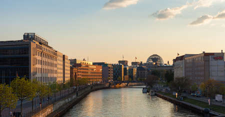 or spree: Berlins River Spree and Reichstag building Stock Photo