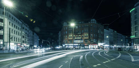 BERLIN - October 8, 2016: Traffic moves through Rosenthaler Platz (Rosenthal Square) in Berlin on the night of October 8, 2016.
