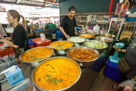 phuket food: PHUKET, THAILAND - 16 Oct 2016: Fruit, vegetables, fish, and meat at the Robinsons Fresh Market on October 16, 2016 in Phuket Town, Thailand.