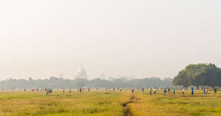 west bengal: Maidan park in Kolkata (Calcutta) with the Victoria Memorial