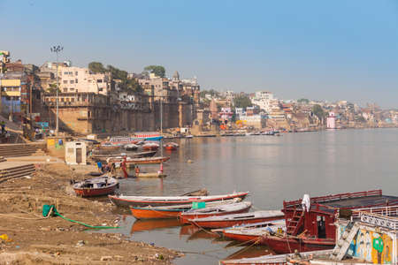 benares: Boats and ghats on the River Ganges  in Varanasi, India