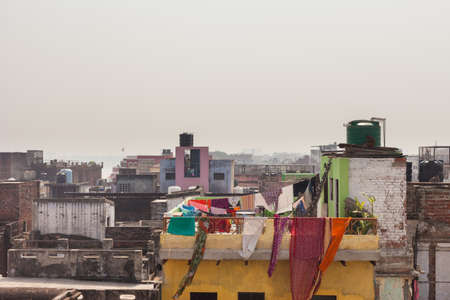 uttar: View over the rooftops of Varanasi, India Stock Photo
