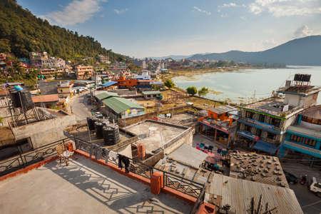 phewa: POKHARA, NEPAL - 01 December 2016: View over North Lakeside, 01 December 2016 in Pokhara, Nepal Editorial