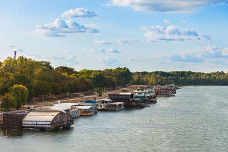 Splav (river barge) night clubs on the Sava, Belgrade, Serbia