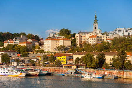 Belgrade waterfront with St Michaels Cathedral, Serbia Editorial
