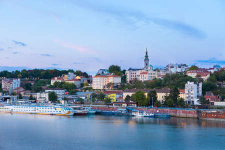 The Sava River waterfront with St Michaels Cathedral, Belgrade, Serbia