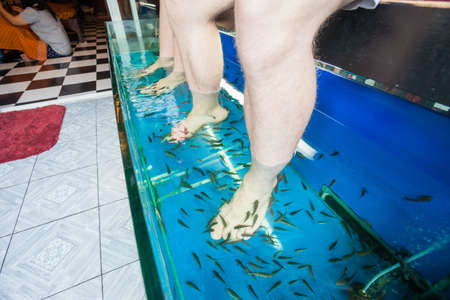 Tourists enjoy a fish massage (pedicure) in southeast Asia