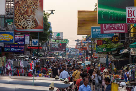 BANGKOK, MARCH 11: Tourists walk along Bangkok's Khao San Road on March 11. Editorial