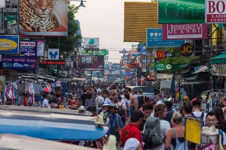 BANGKOK, MARCH 11: Tourists walk along Bangkoks Khao San Road on March 11.