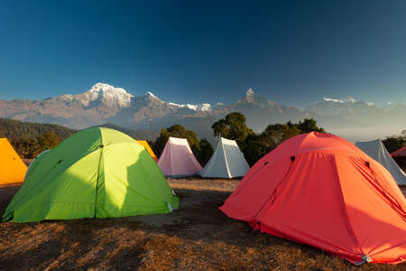 Tents set up for group camping in the Annapurna Region, Nepal Stock Photo