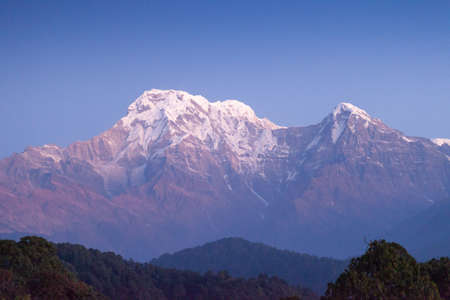 Hiunchuli and Annapurna South in the Annapurna Region of the Nepal Himalayas