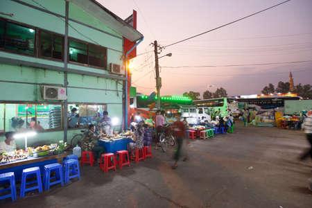 YANGON, MYANMAR - JANUARY 28: Travelers wait for buses at Aung Mingalar Bus Station in Yangon, Myanmar on 28 January 2019.