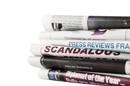 Newspapers with headlines on white background Stock Photo - 18830703