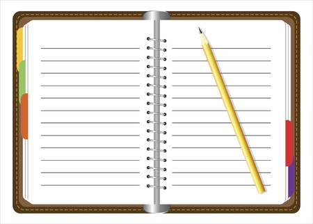 Brown personal organizer and yellow pencil Иллюстрация