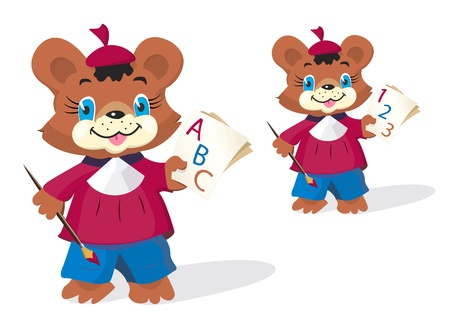 Funny bear pupil holding painting brush and sheets of paper with ABC letters (or 123 characters)