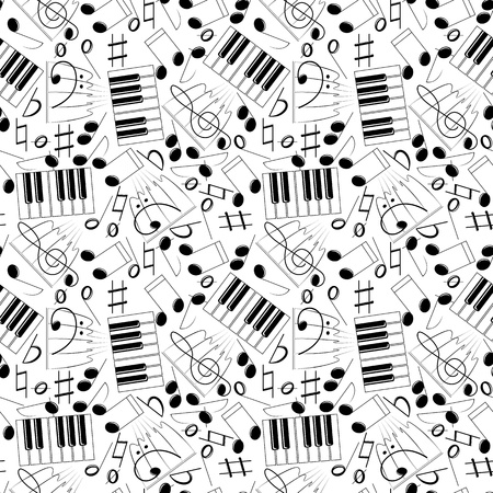 Seemless vector B&W pattern with music simbols Иллюстрация