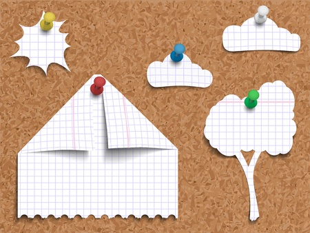 cork sheet: illustration of corkboard with pinned childrens work of paper landscape made of pages torn from exercise book in cage, cut and folded in shapes of a house, a tree, clouds with sun.