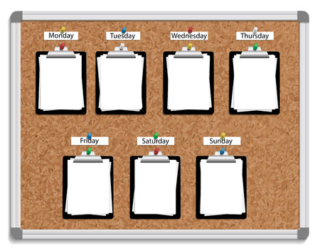 illustration of corkboard with pinned clipboards with white sheets of paper for each week day.