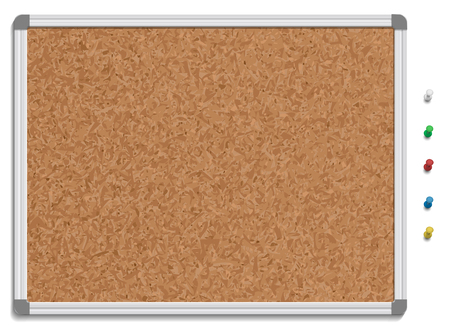 cork sheet: illustration of corkboard with colored pins. Illustration