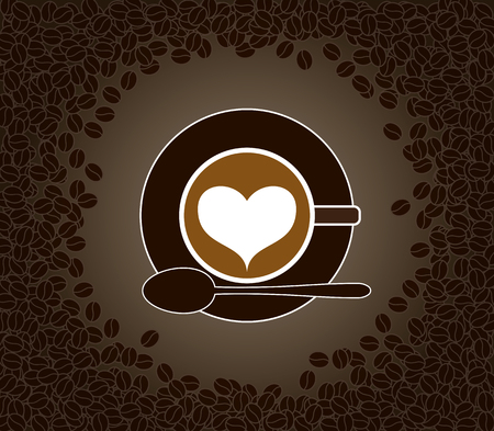 Vector illustration of cup of heart shape patterned cappuccino on a saucer with spoon surrounded by coffee beans