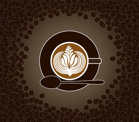 latte art: Vector illustration of cup of milk patterned cappuccino on a saucer with spoon surrounded by coffee beans Illustration