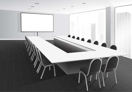 boardroom: Vector illustration of boardroom with table and chairs, white screen and window with city view