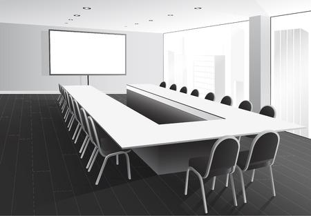 board room: Ilustraci�n del vector de la sala de juntas con una mesa y sillas, pantalla blanca y una ventana con vista a la ciudad Vectores