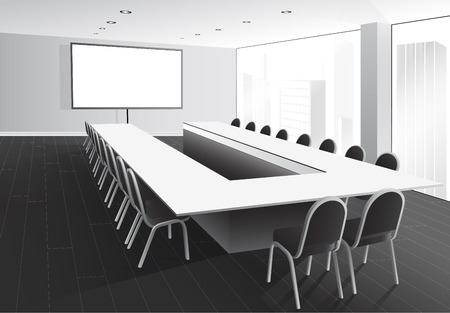 Vector illustration of boardroom with table and chairs, white screen and window with city view