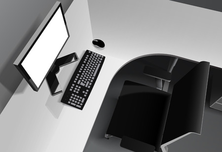 Vector black and white photorealistic illustration. Top side view of modern office with reflective white desk, computer with empty white screen and black chair