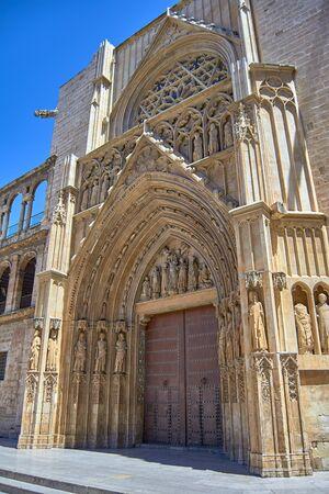 The Door of Apostles. Cathedral of Valencia, Spain. Banco de Imagens