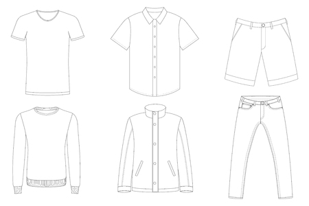 Male clothes vector outlines, black and white. Иллюстрация