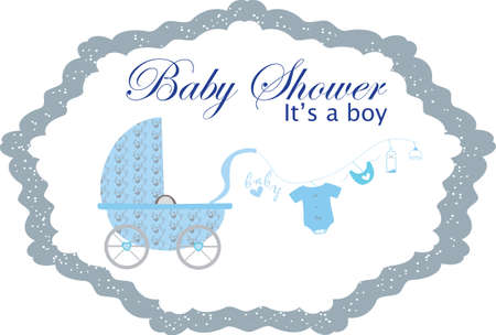 Baby shower invitation background design with Baby dolls with blue baby carriage Illustration