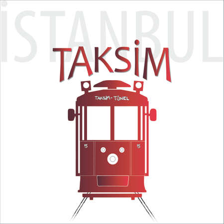 Taksim-Tunel on Istiklal Street in Istanbul, graphic vector illustration